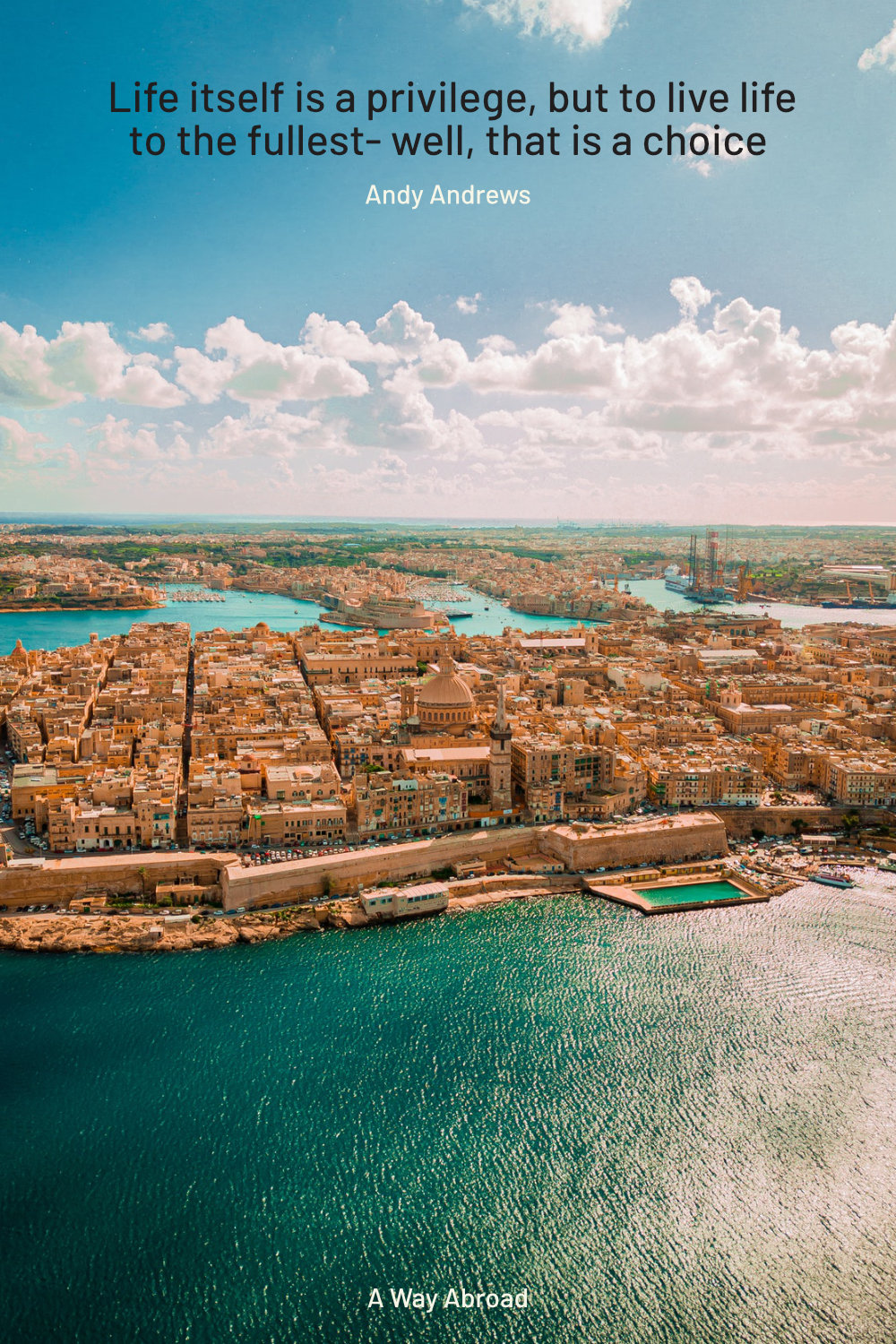 Beautiful Malta with brick buildings from above with the water all around