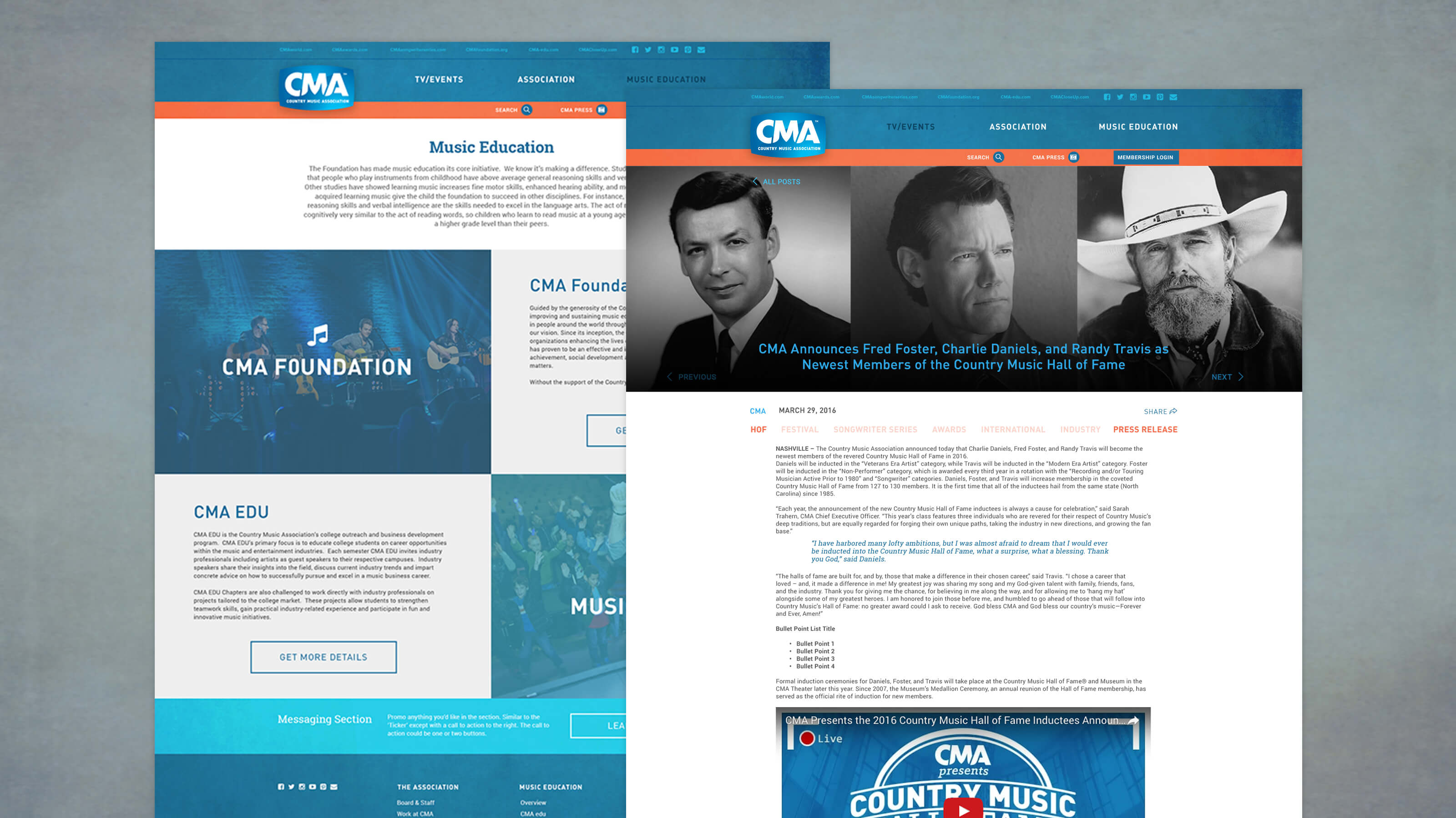 Music Education and Blog Post page design for CMA World web design for Ben Fieker's Fieker Brothers website