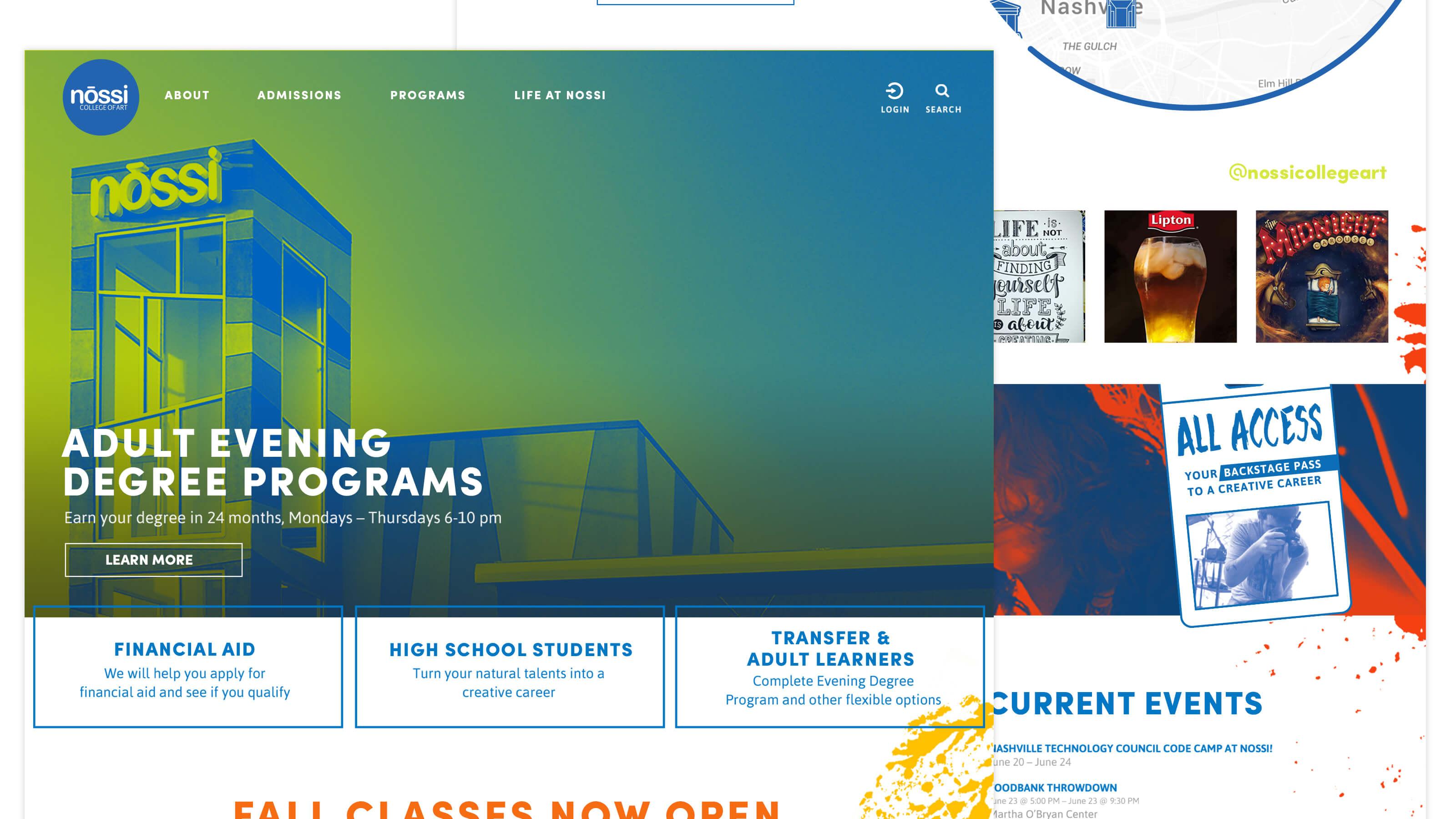 Nossi College of Art Home Page Web Design for Ben Fieker's Fieker Brothers Website