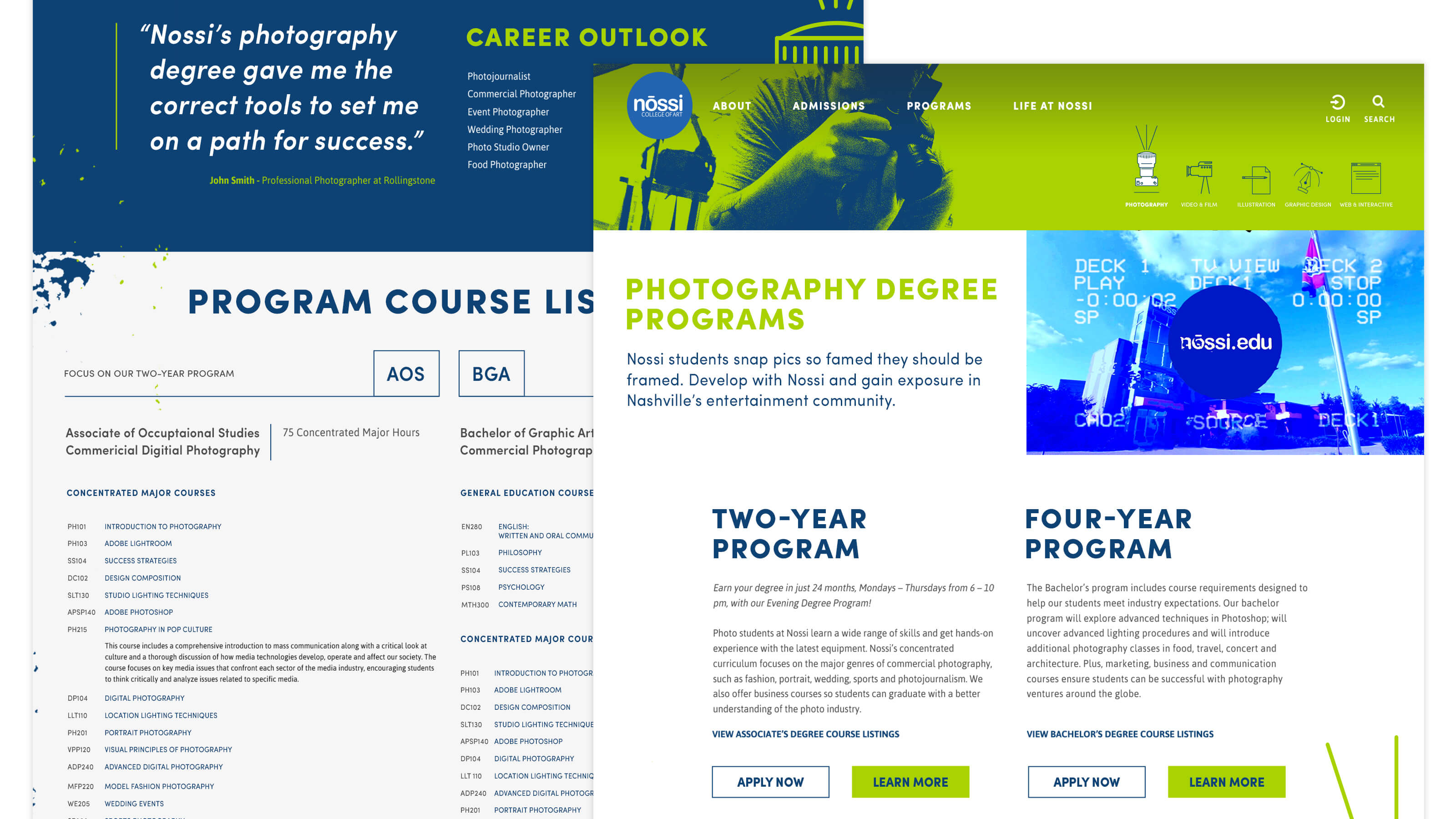 Nossi College of Art Program Template Page Web Design for Ben Fieker's Fieker Brothers Website