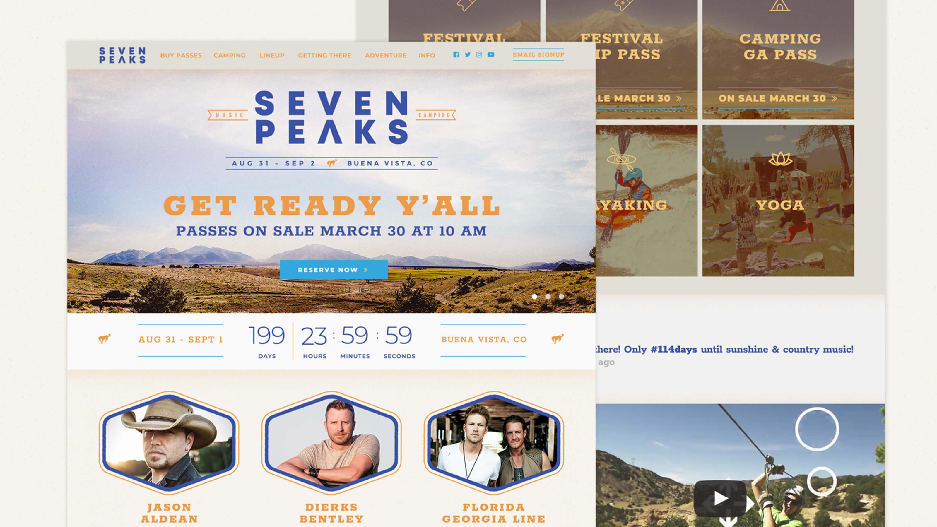 Seven Peaks Music Festival home screen design by Ben Fieker for Fieker Brother's website