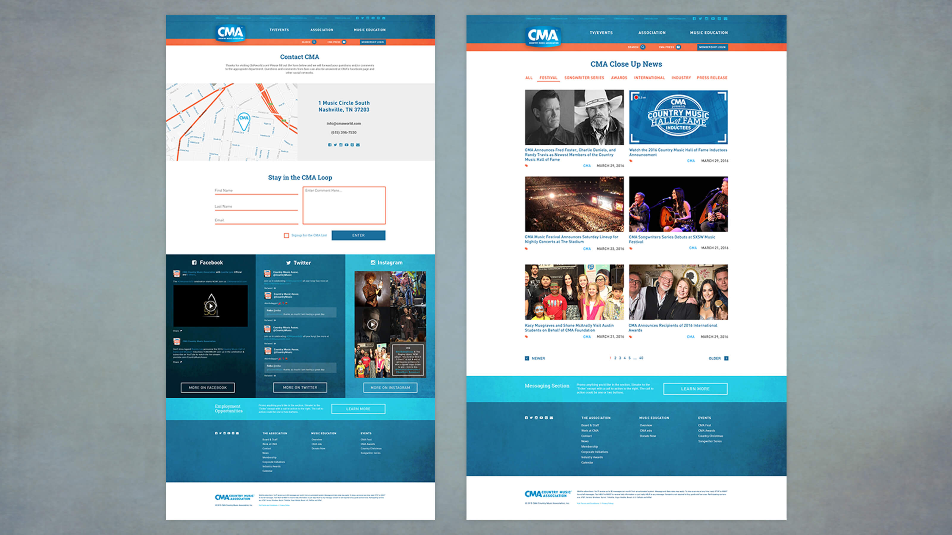 News page and contact page design for CMA World web design for Ben Fieker's Fieker Brothers website