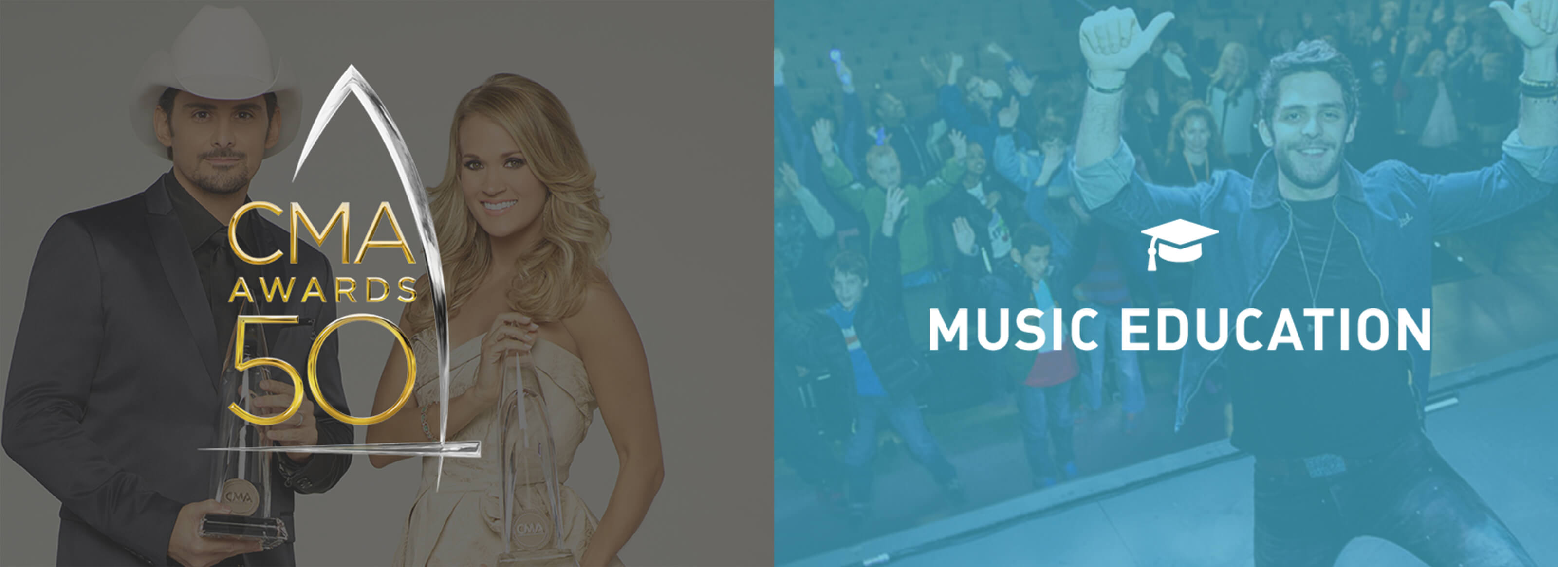 CMA 50th Awards with Carrie Underwood and Music Education pieces from CMA World web design for Ben Fieker's Fieker Brothers website
