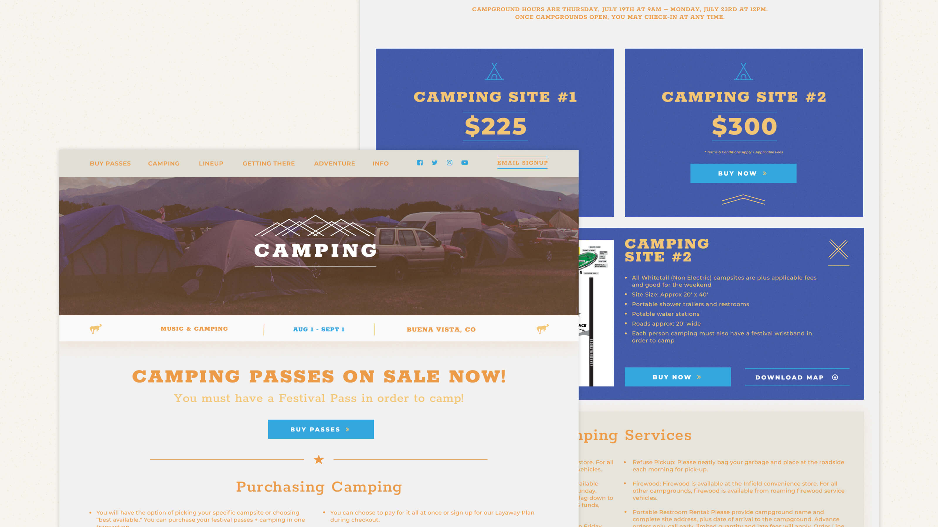 Camping page web design for Seven Peaks Music Festival by Ben Fieker for Fieker Brother's website