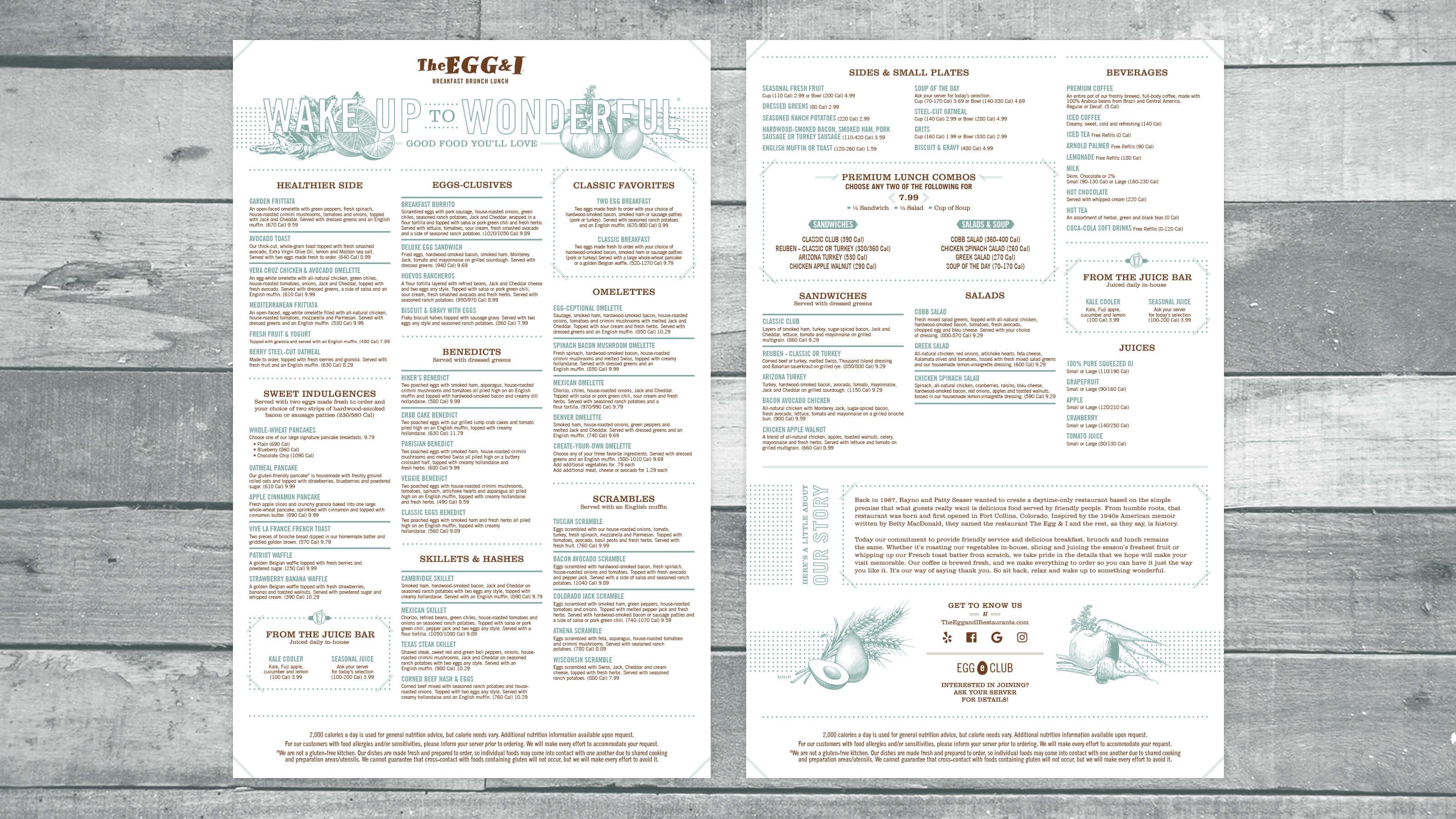 Menu design by Ben Fieker for The Egg & I Restaurants in 2018 for Fieker Brother's website