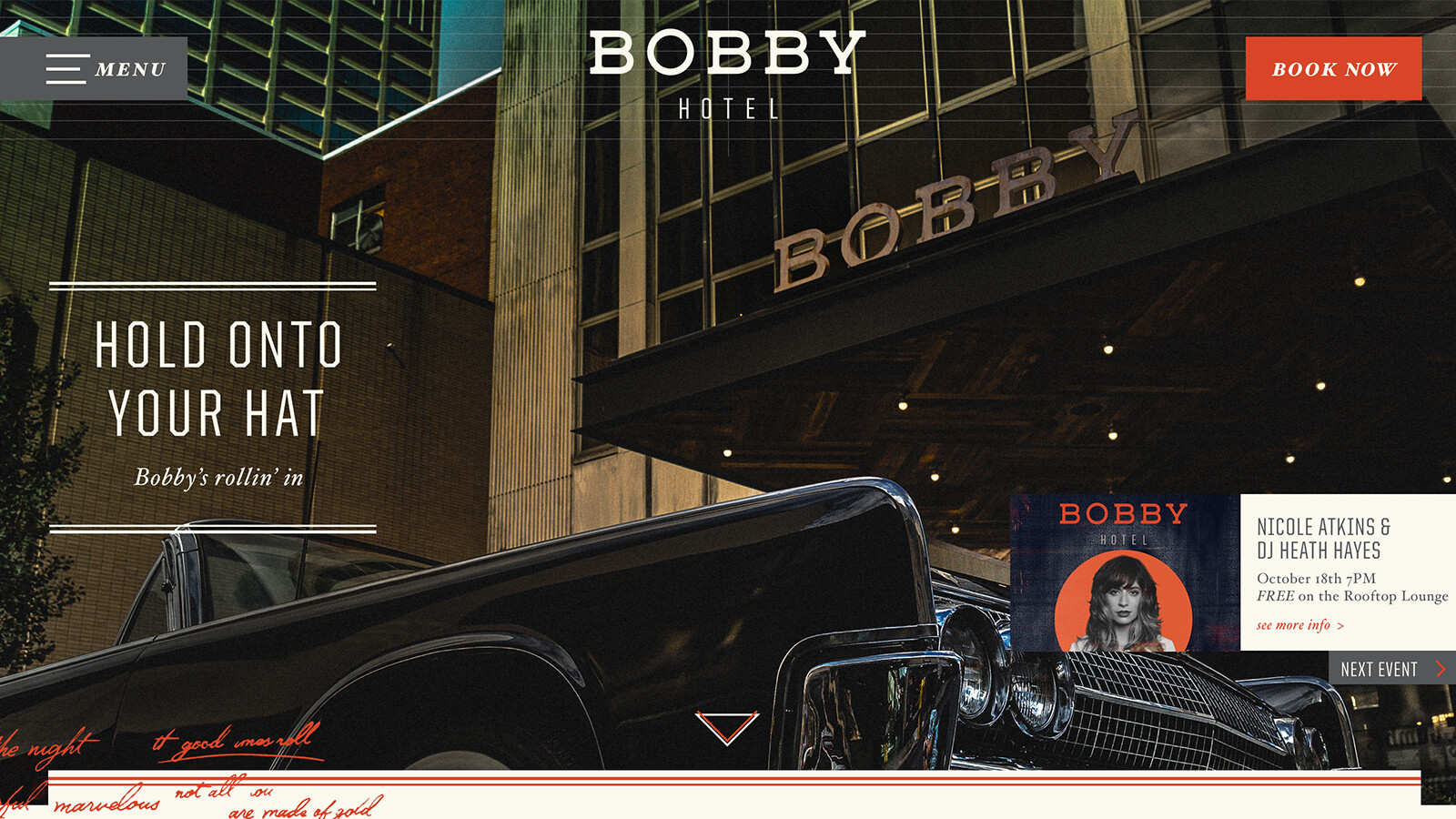 Bobby Hotel Nashville Website by Ben Fieker's Fieker Brothers website