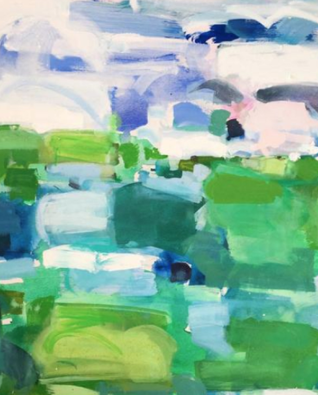 Abstract painting by Kiki Slaughter in green and blue