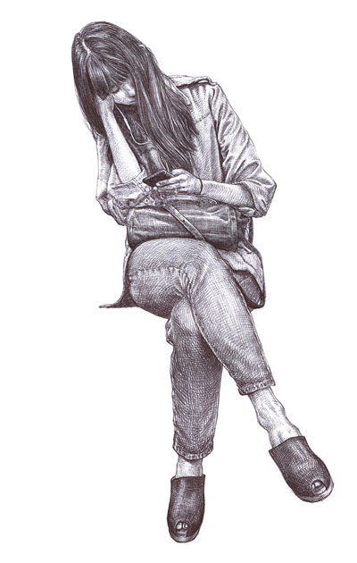 Drawing by Guno Park of a woman on the subway