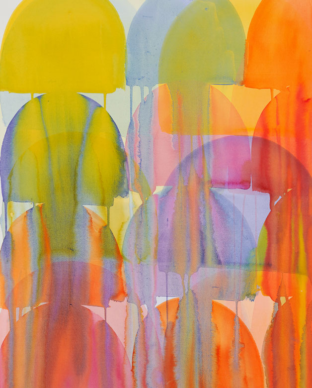 Colorful abstract painting in yellow and orange by Svetlana Rabey
