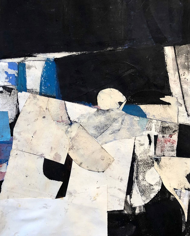 Abstract painting in blue, white, and black, by Robert Szot
