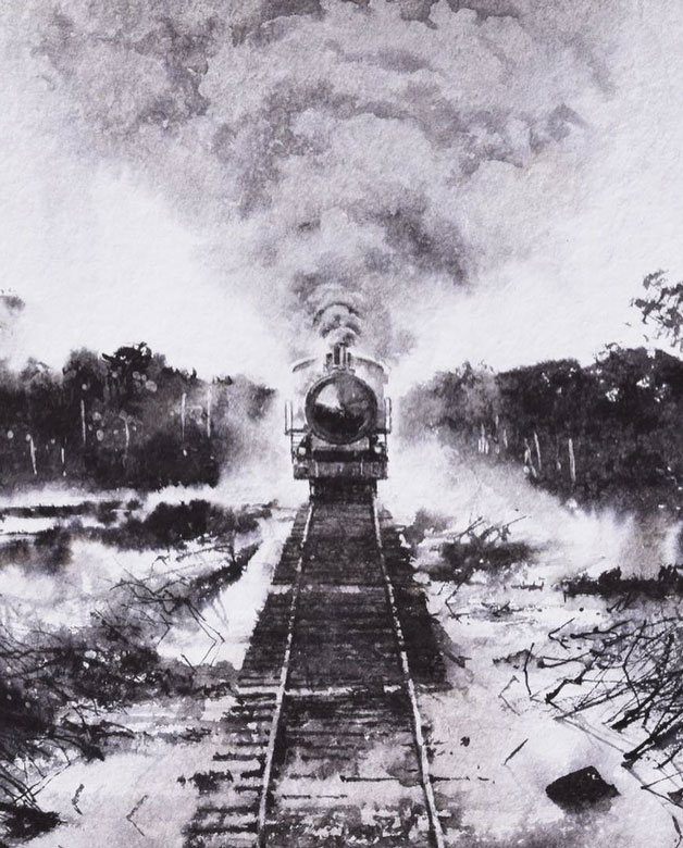 Train locomotive on a railroad coming straight towards the viewer by Marcelo Daldoce
