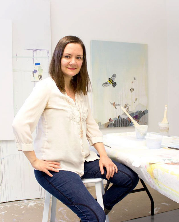 Lauren Matsumoto sitting on a chair in her studio