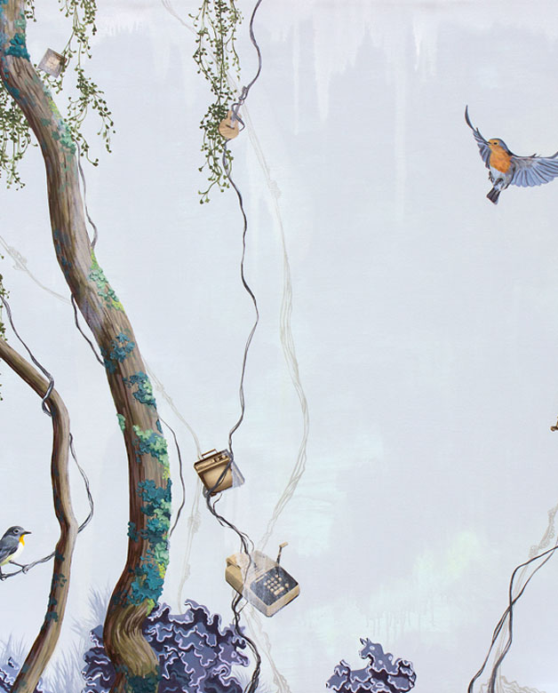 Whimsical painting with a bird and a tree branch by Lauren Matsumoto
