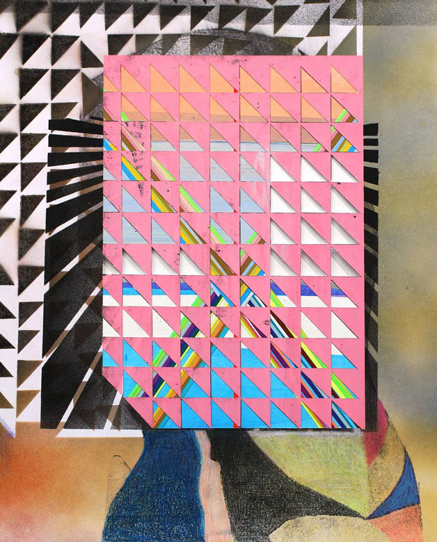 Pink triangle collage by Kristen Schiele