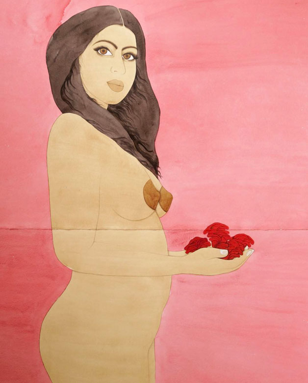 Painting of a nude woman in pink by Hiba Schahbaz
