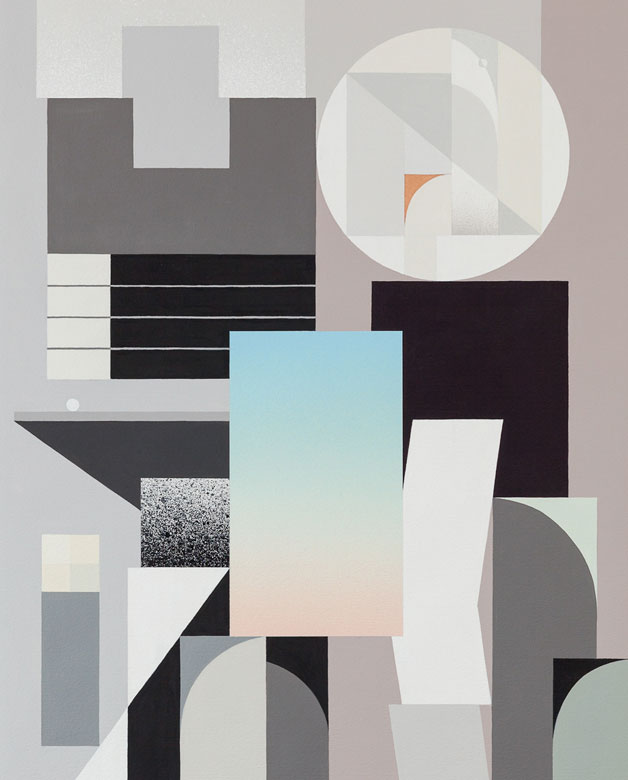 A painting by Rubin415 in gray, white, and blue