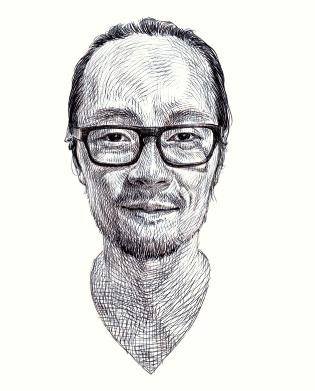 Self-portrait of Guno Park in pen