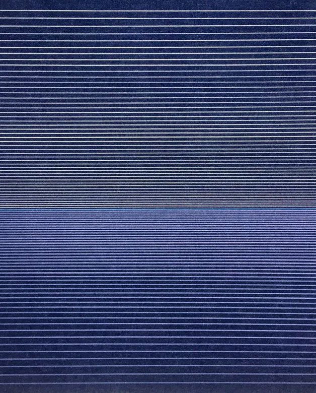 Abstract art with navy lines by Alexander Jowett