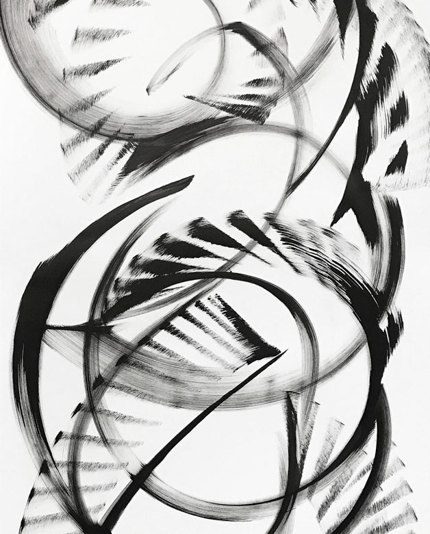 Abstract black and white painting by Thomas Hammer