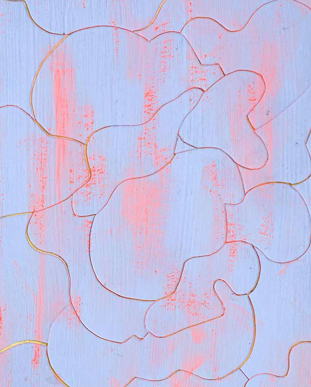 Abstract painting by Chiaozza in blue and pink