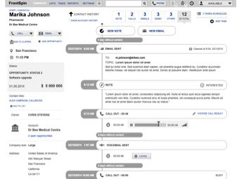 Przykładowa makieta aplikacji Frontspin