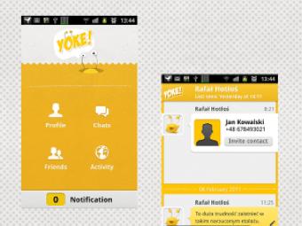Interfejs aplikacji mobilnej Yoke