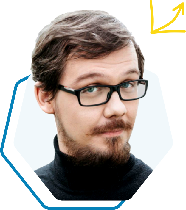Michał Witkowski - trener z wąsami i brodą oraz okularami z czarną obwódką, obok ikona wykresu