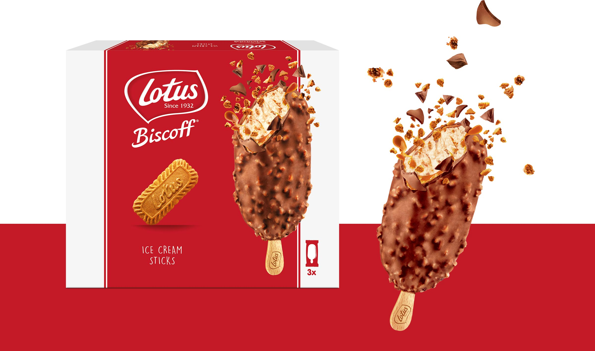 Lotus Biscoff's new ice cream product packaging and the product next to it with chocolate bursting off of it.