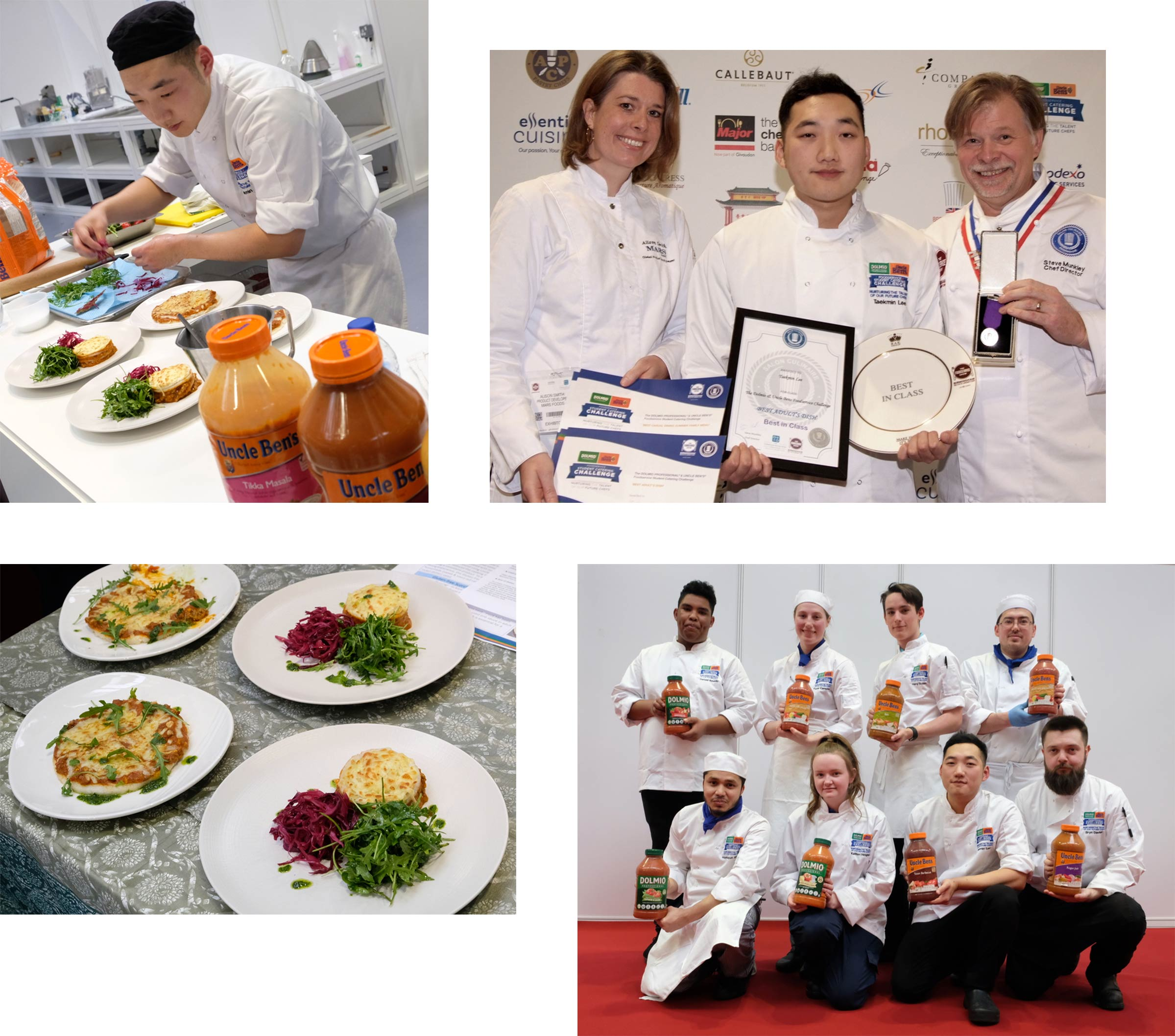A collage of images including a selection of finished dishes, chefs cooking and winners posing for photos.