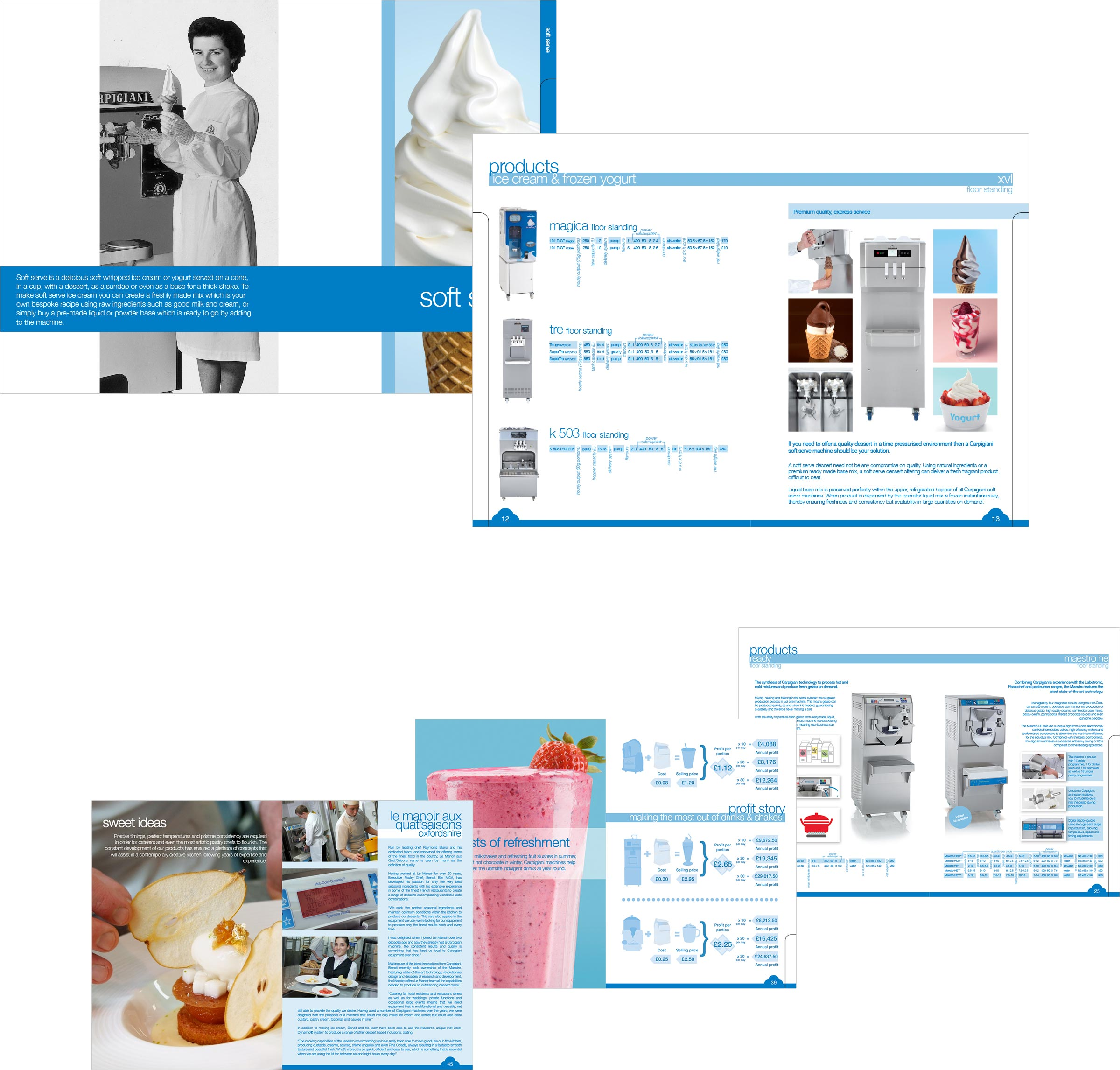 A selection of brochure pages detailing the designs and layouts used within the brochure.