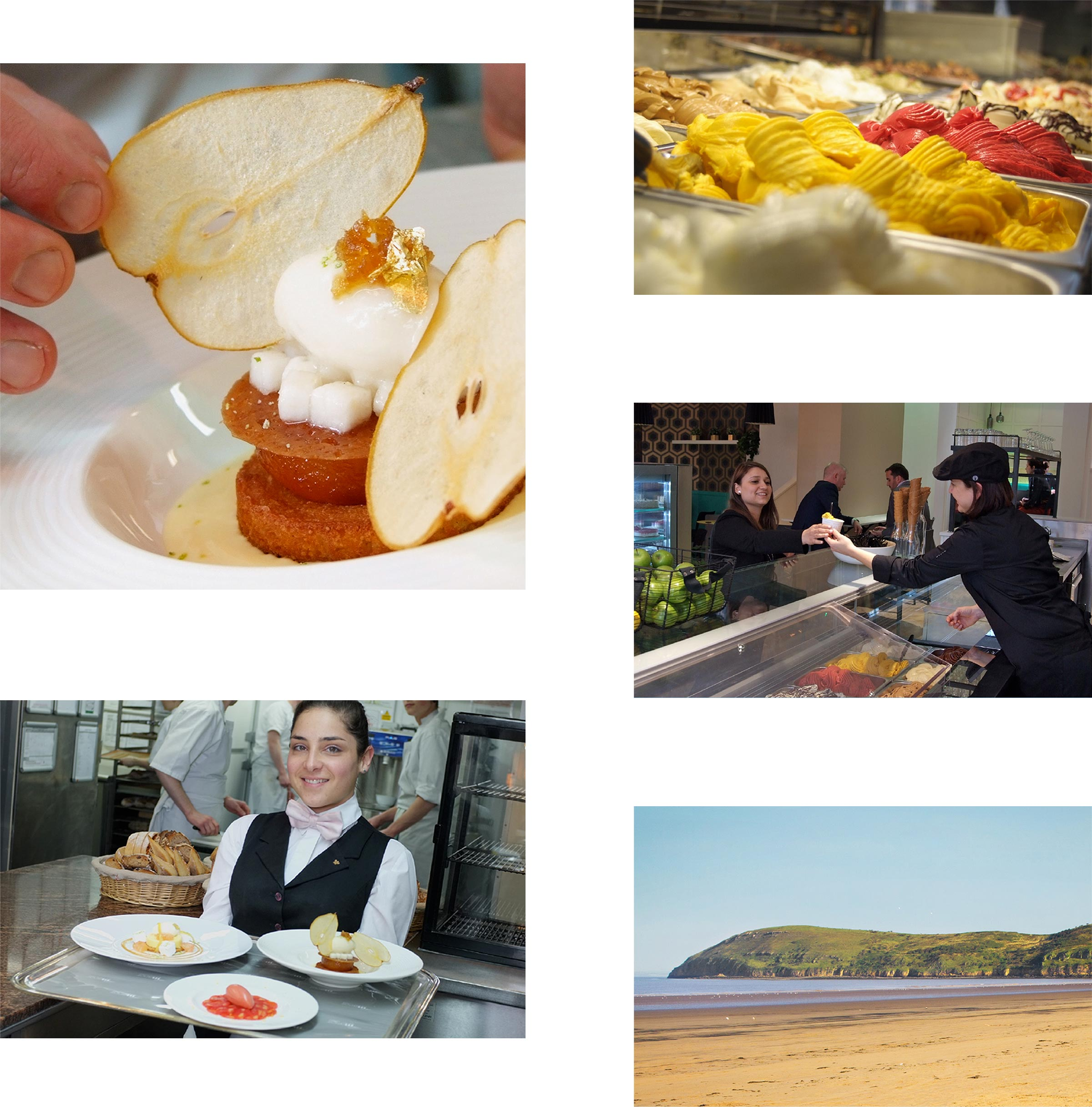 A collage showcasing the photography done for the brochure: chefs cookings, serving food, restaurant exteriors.
