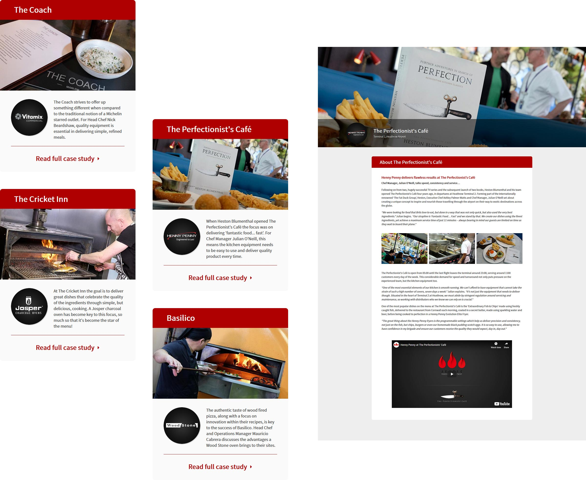 Elements of a website page detailing how case studies are uploaded onto the site.