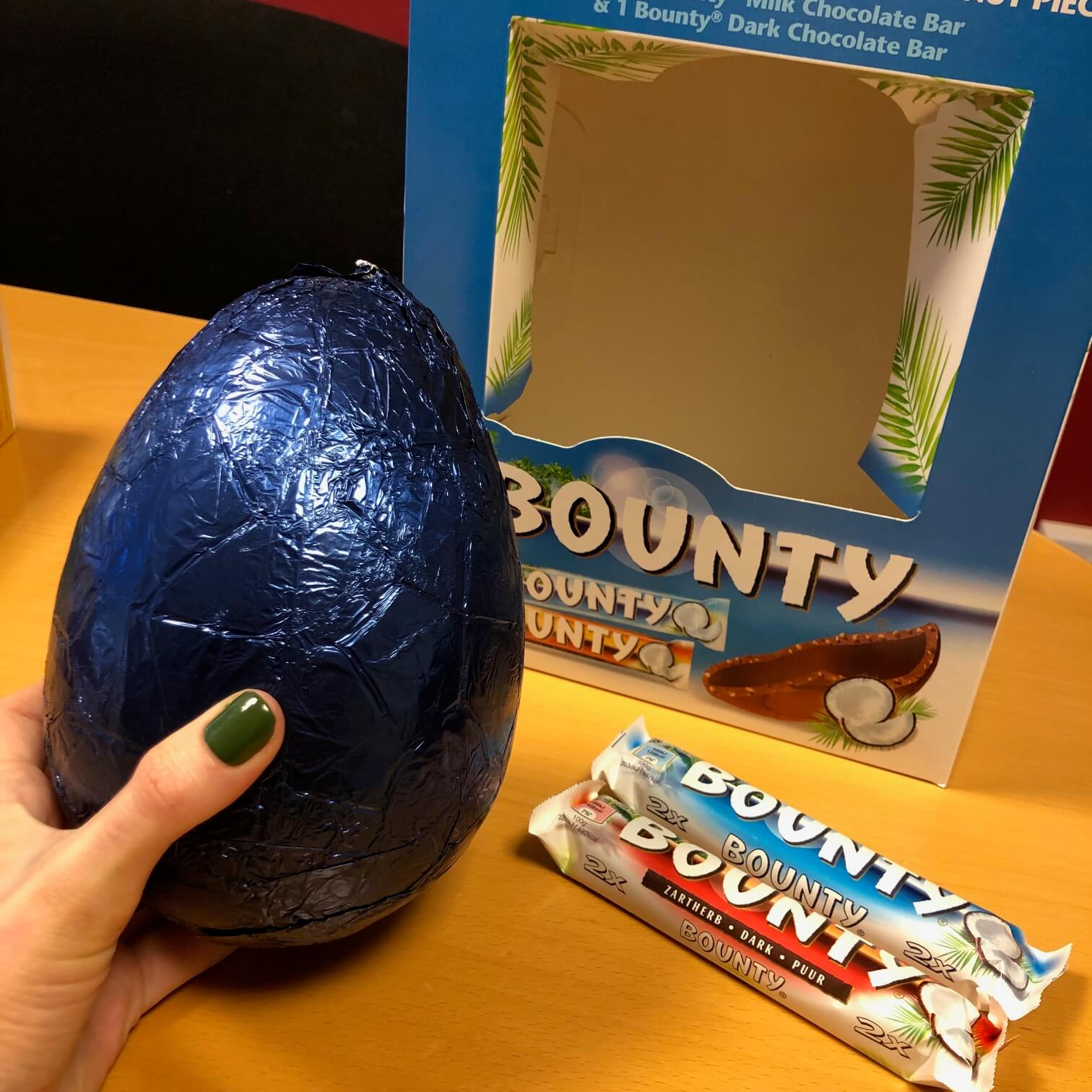 Bounty's chocolate easter egg and chocolate bars.