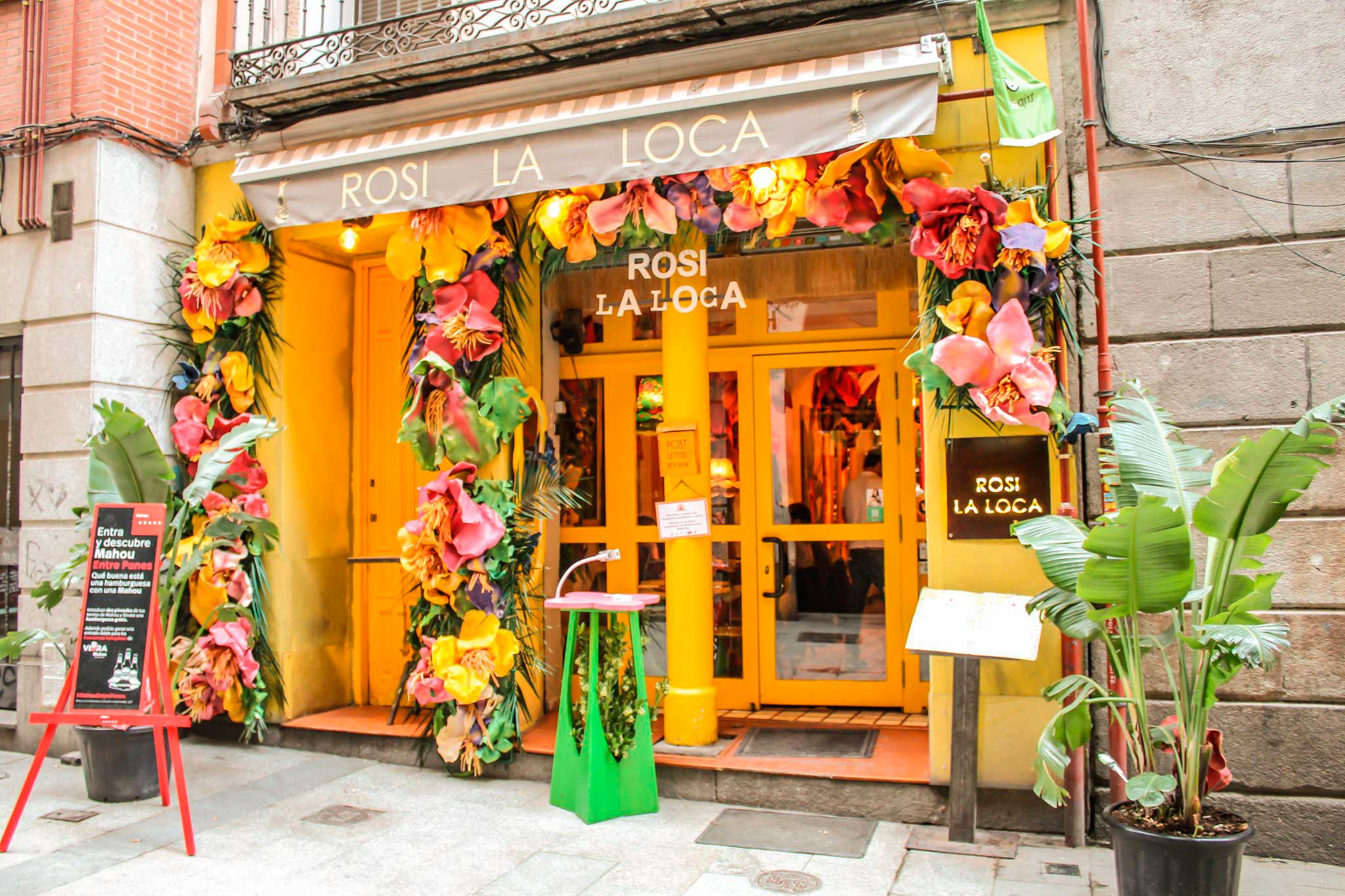 The bright, yellow exterior of the Rosi La Loca cafe.