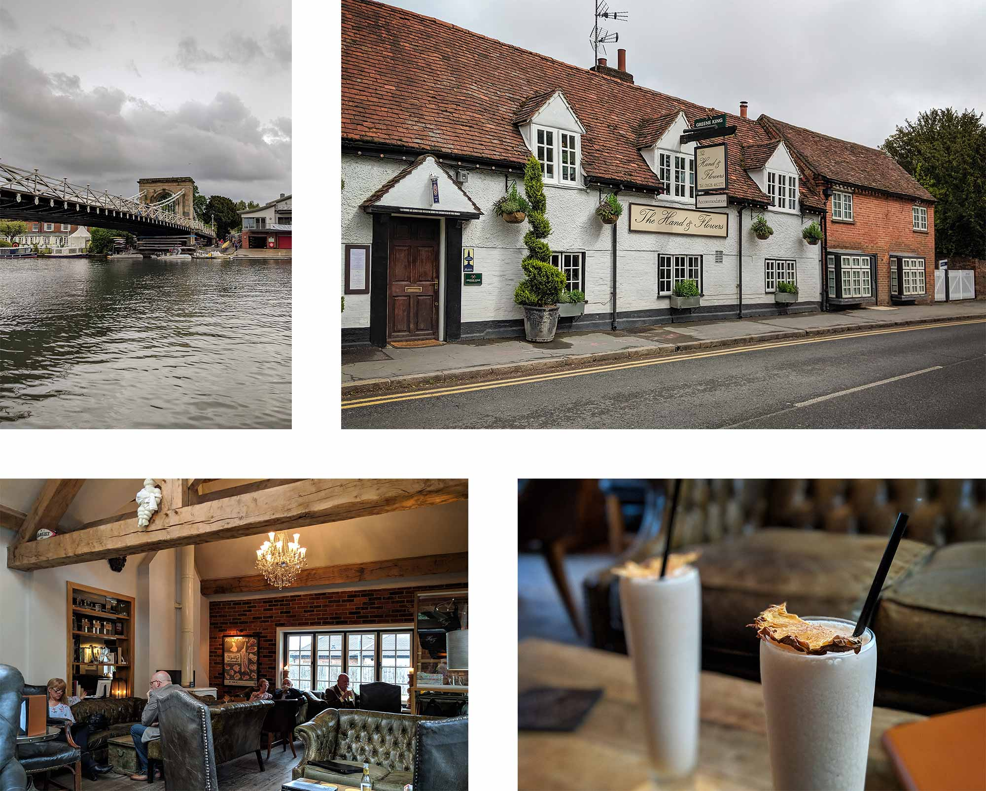 A collage of Marlow's suspension bridge, The Hand & Flowers' exterior and interior, and some pina coladas.