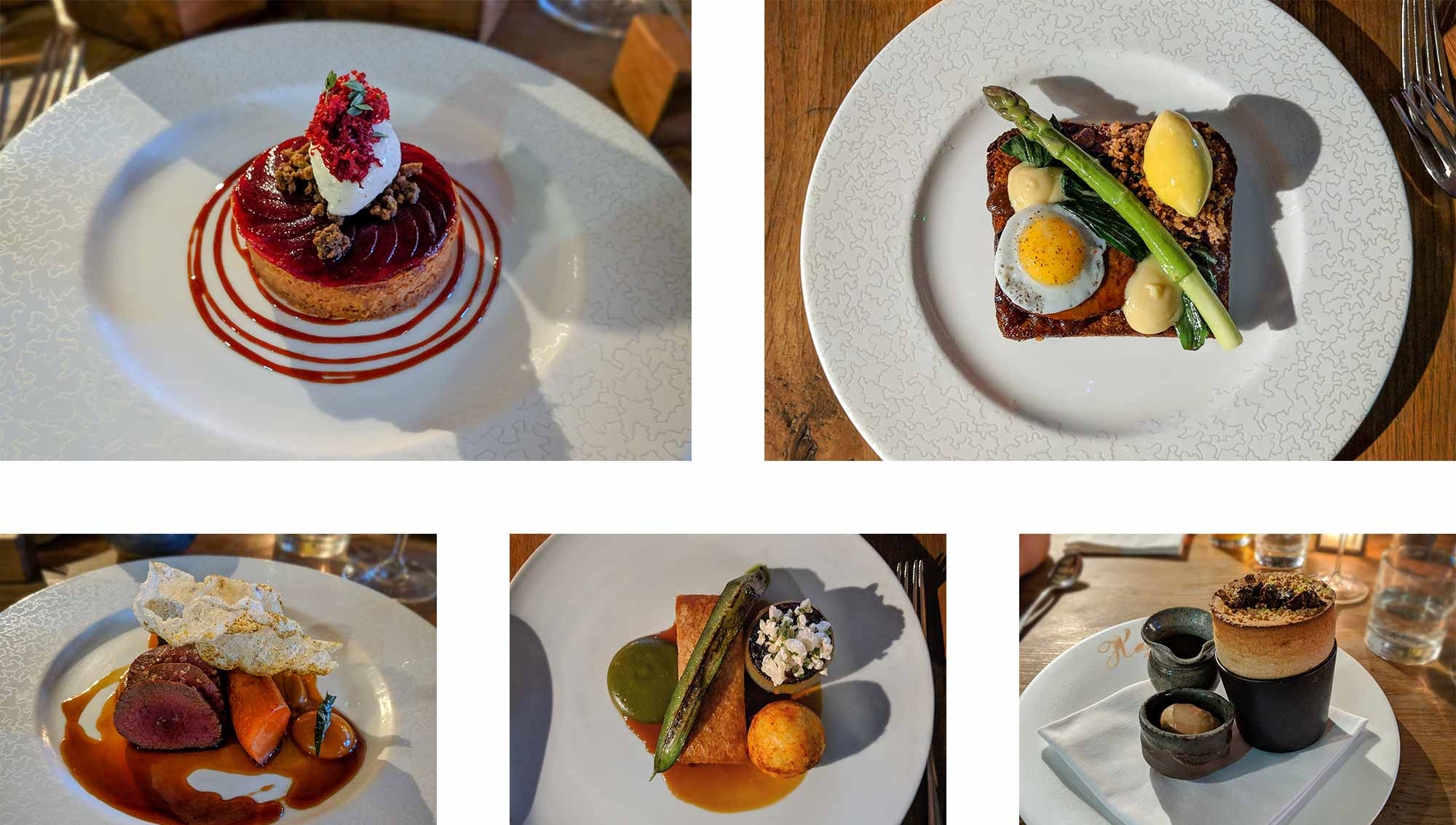 A collage of food, cheddar tart, egg and asparagus on toast, venison with vegetables, pork belly with black pudding and a banana souffle with ice cream.