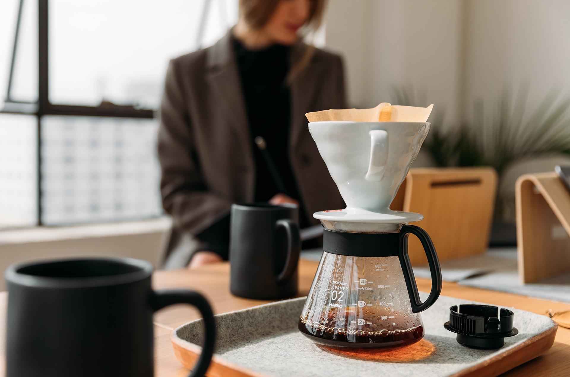 woman coffee desk