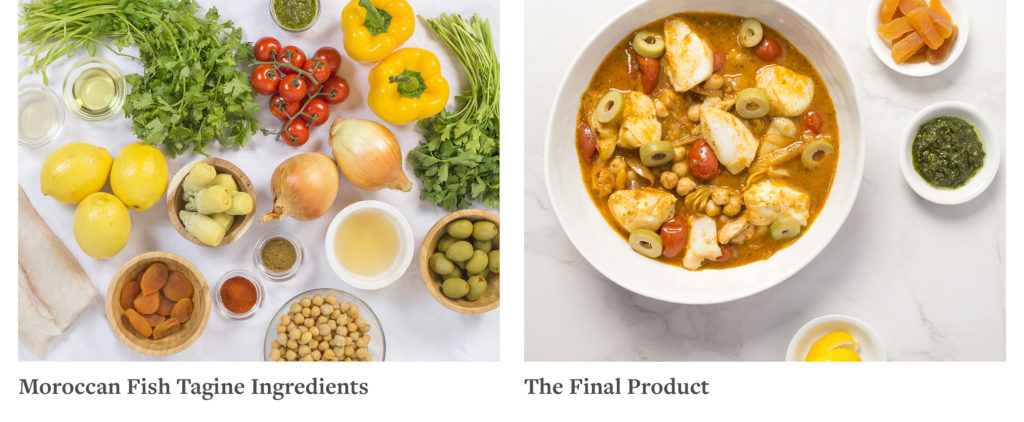 Numerous ingredients are spread out on a table on the left and a completed meal in a bowl on the right.