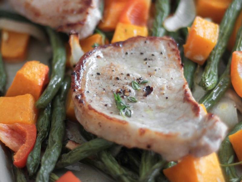 Easy Weeknight Dinner: 30 Minute Pork and Sweet Potato Sheet Pan