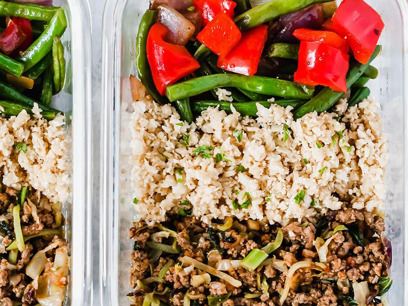 Easy Weeknight Dinner: Ground Turkey Cauliflower Rice Veggie Bowls