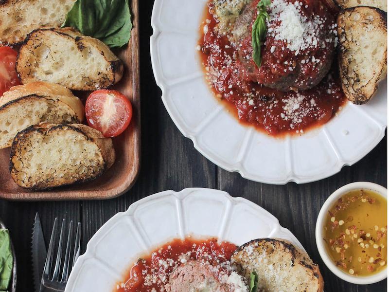 Dinner Ideas for Two: Giant Skillet Stuffed Meatballs