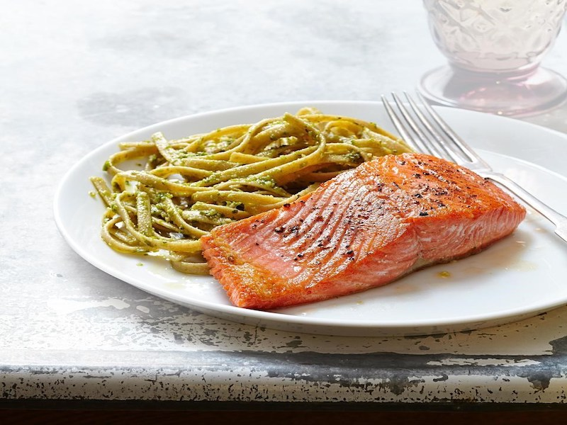 Dinner Ideas for Two: Seared Salmon With Pesto Fettuccine