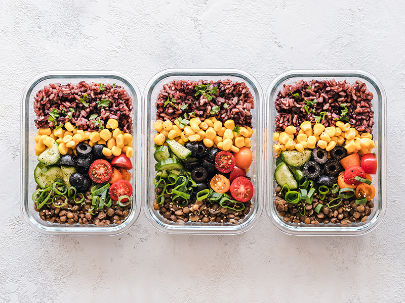 How to meal prep: Three containers of meals