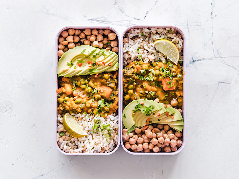 How to meal prep: Two containers of Mexican meals