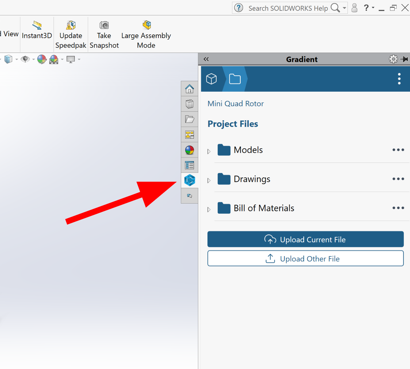 The Gradient icon in SolidWorks that allows users to share CAD files directly from the SolidWorks app