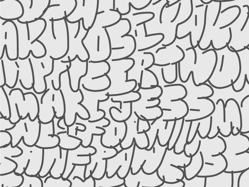 Closeup image of hand drawn graffiti names.