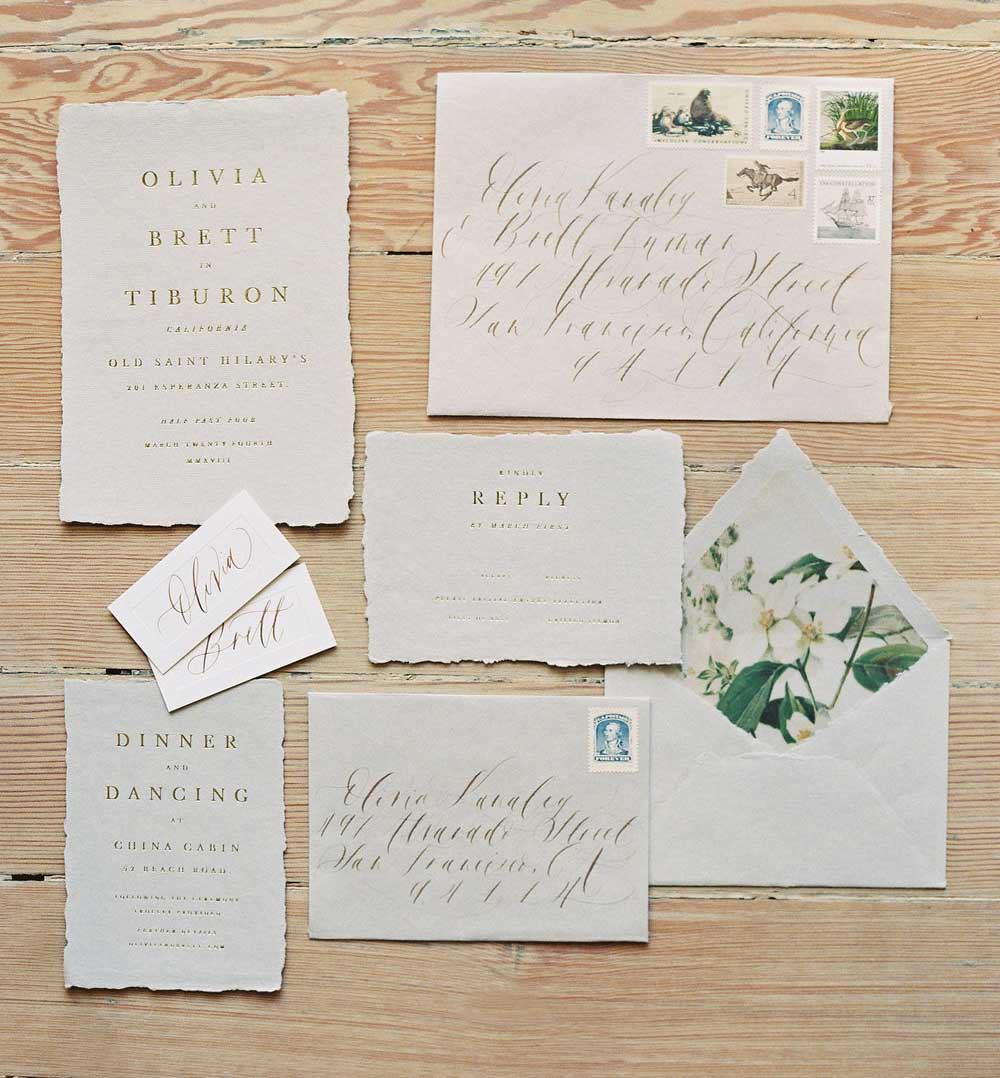 Johannis wedding invitation suite printed with gold foil on watercolor paper.
