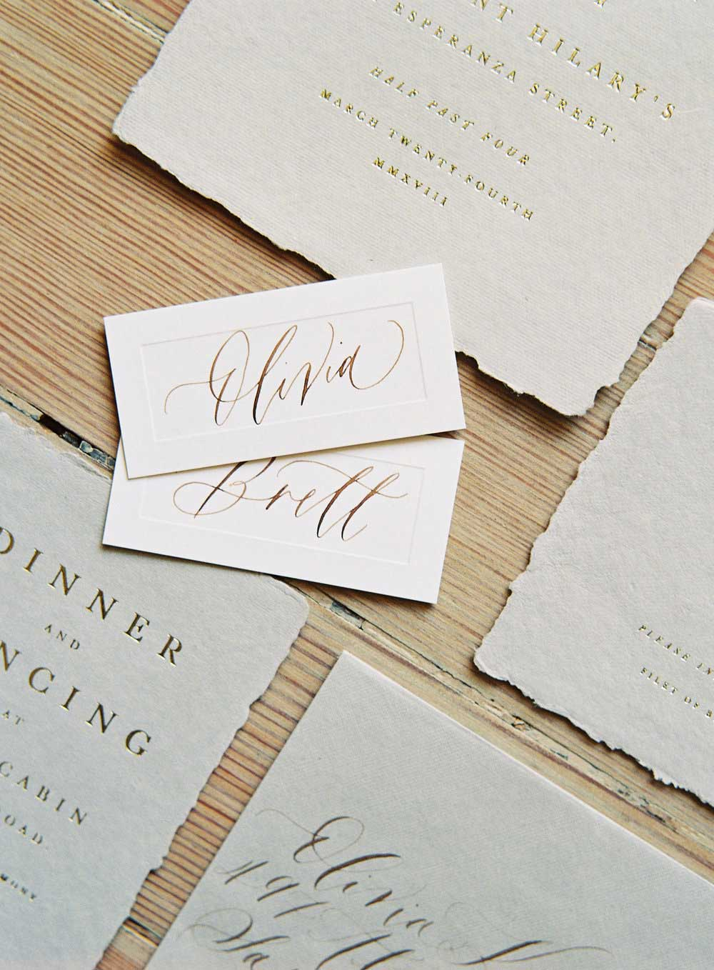Johannis wedding invitation place cards with calligraphy.