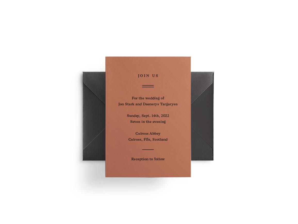Brown wedding invitation design with black envelope.