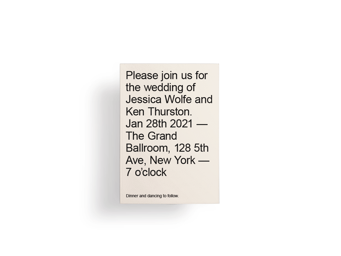 Beige wedding invitation design with large, simple typography.